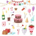 Birthday kids party vector cartoon childs happy birth cake or cupcake celebration with gifts and happy birthday balloons