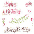 Birthday lettering set colorful with gifts lowers hearts and ballons Stock Photo