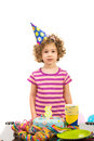 Birthday little girl three years age of made against white background Stock Image