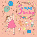 Birthday of the little girl years greeting card or invitation for party Royalty Free Stock Images