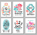 Birthday logo, symbols and illustrations. Royalty Free Stock Photo