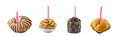Birthday muffins on white background Royalty Free Stock Image