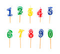 Birthday multicolored candles Royalty Free Stock Photo