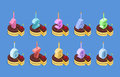 Birthday number candles and cake set celebratory chocolate pie with cherries piece of dessert isometrics of numbers for Royalty Free Stock Photo