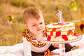Birthday party baby girl celebrating her first bithday with gourmet cake and balloons Stock Photography