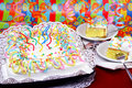 Birthday party cake in festive setting. Stock Images