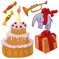 Birthday party cake present toy Royalty Free Stock Photos