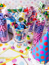 Birthday Party Candy Station with Party Blowers  Stock Photos