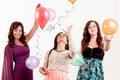 Birthday party celebration three woman with ballons having fun women Royalty Free Stock Photos