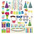 Birthday party design elements. Birthday celebration invitation