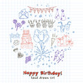 Birthday party doodles elements background. Vector illustration for invitations, design and packages product.
