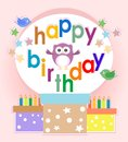 Birthday party elements with cute owls and birds Stock Images