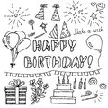Birthday party elements set. doodle style collection. Hand drawn scandinavian simple liner style