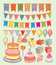 Birthday party elements, vector illustration Royalty Free Stock Photo