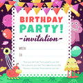 Birthday party funny space invitation with cartoon aliens and monsters for kids adults Royalty Free Stock Photography