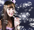 Birthday Party Girl Blowing Bubbles Stock Images