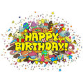 Birthday party hand drawn doodles elements background. Vector cartoon illustration