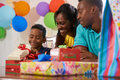 Birthday Party At Home With Black Mom Dad Son Celebrating Royalty Free Stock Photo