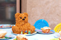 Birthday party with homemade torte for children happy birthday Royalty Free Stock Images