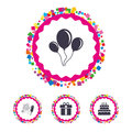 Birthday party icons. Cake and gift box symbol.