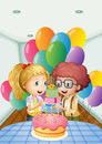 A birthday party inside the house illustration of Royalty Free Stock Image