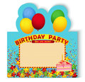 Birthday party invitation card with cake for decorated balloons end piece of illustration use transparency and blending modes only Stock Photos