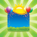 Birthday party in nature vector illustration Royalty Free Stock Photography