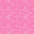 Birthday party pink seamless pattern, flat line illustration. Vector icons of event agency, wedding organization - cake