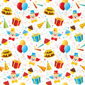 Birthday party seamless pattern Stock Photo