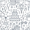 Birthday party seamless pattern, flat line illustration. Vector icons of event agency, wedding organization - cake Royalty Free Stock Photo