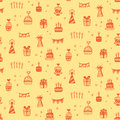 Birthday party seamless patterns with hand drawn doodles