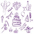 Birthday party set vector illustration silhouette sketch Royalty Free Stock Image