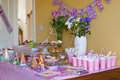 Birthday party table for a girl Royalty Free Stock Photos