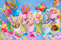 Birthday party table with sweets for kids Royalty Free Stock Photos