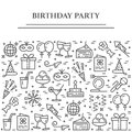 Birthday party theme horizontal banner. Set of elements of cake, present, champagne, disco, firework and other entertainment relat