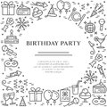 Birthday party theme horizontal banner. Set of elements of cake, present, champagne, disco, firework and other