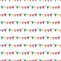 Birthday party vector celebratory seamless pattern with garlands balloons holiday confetti hearts surprise carnival