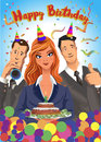 Birthday party vector illustration, friends with presents, gifts, holding cake, wearing celebration hats.