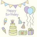 Birthday party vector illustration icons set Royalty Free Stock Image