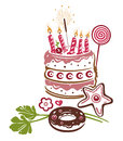 Birthday pie cake colorful illustration with candy Royalty Free Stock Photography