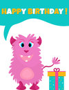 Birthday postcard or invitation with cute fluffy monster and present