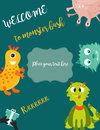 Birthday postcard or invitation with cute monsters and text