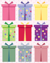 Birthday present an illustration of abstract gift boxes for birthdays in different colors on a pink spotty background Royalty Free Stock Photography