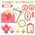 Birthday scrapbook set of elements Stock Photos
