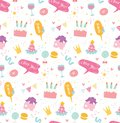 Birthday seamless background in kawaii style vector