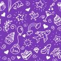 Birthday seamless handdrawn pattern, doodle.