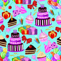 Birthday seamless pattern with birthday cake, cupcake, balloons, gifts on blue background.