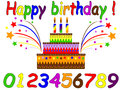 Birthday set with cake numbers Stock Images