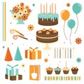 Birthday set happy design elements in cartoon style Royalty Free Stock Images