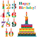 Birthday set numbers and cake Royalty Free Stock Image